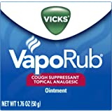 Vicks VapoRub Cough Suppressant Chest and Throat Topical Analgesic Ointment, 1.76 Ounce