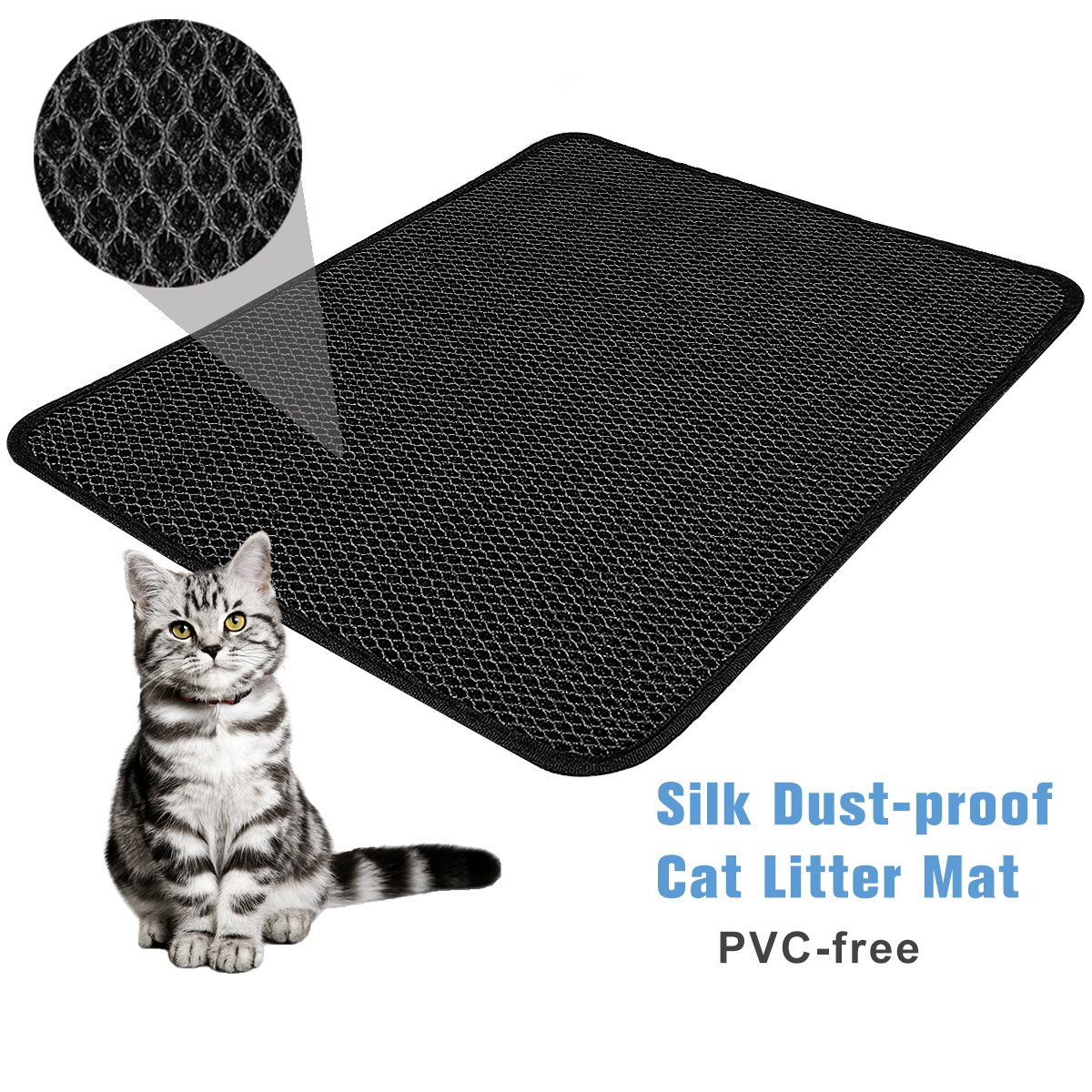"""FOCUSPET Cat Litter Mat Litter Trapper Large Size 26"""" X 22"""", Honeycomb Double-Layer Design Waterproof/Urine Proof EVA Material, Easy Clean Floor/Carpet Protection"""