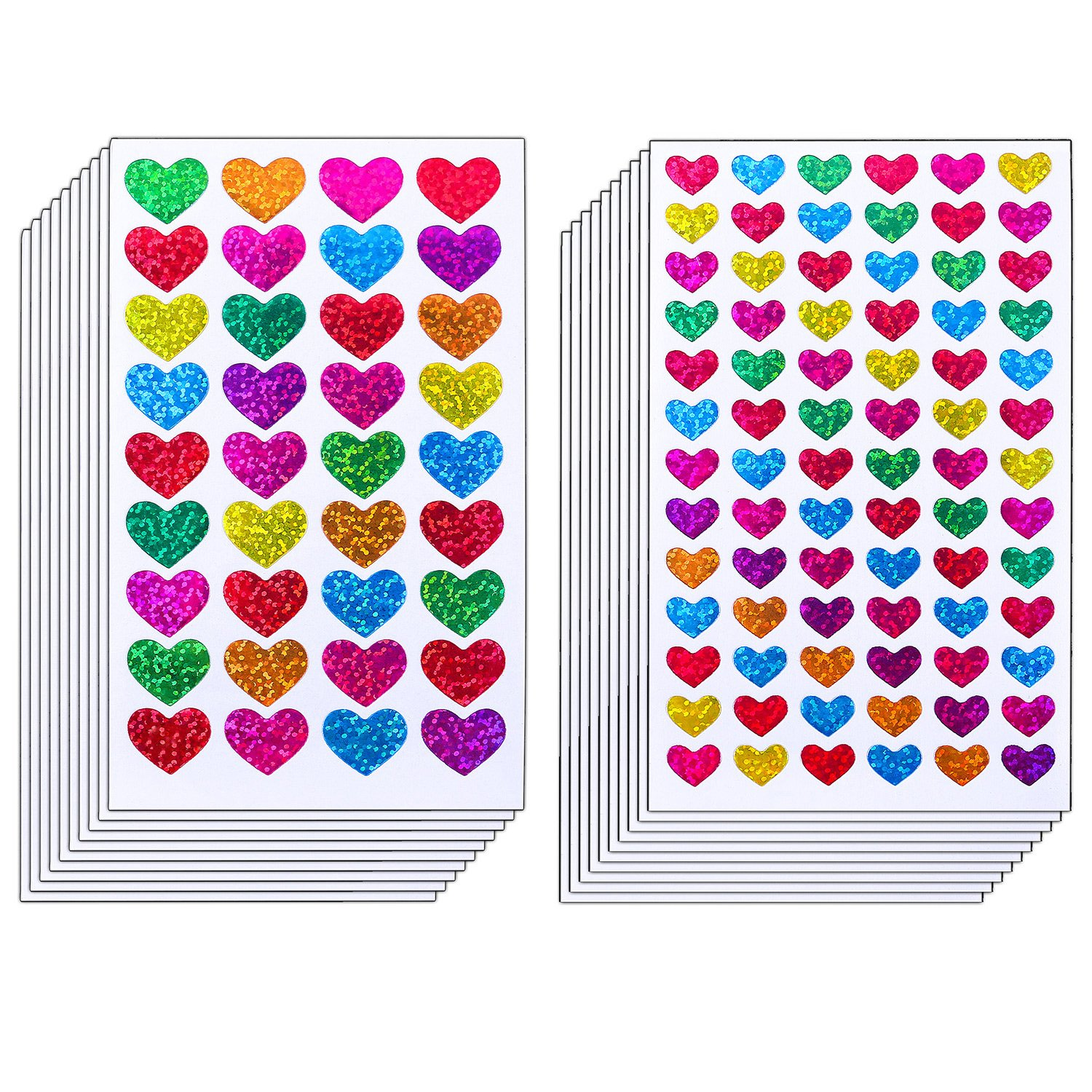 Resinta 60 Sheets Glitter Heart Stickers Valentine's day Love Decorative Sticker for Scrapbooking or Embellishment (Colorful Heart)