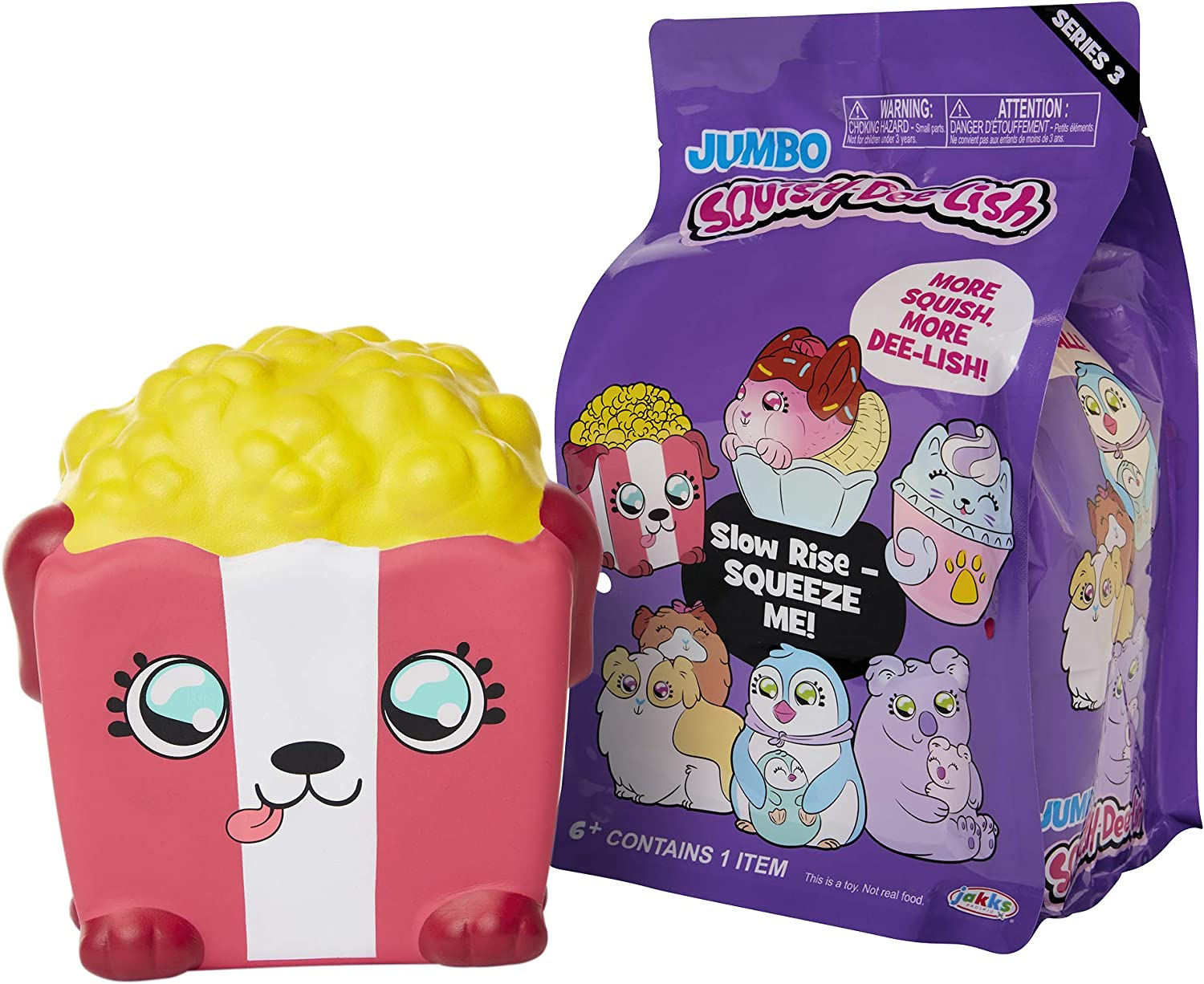 Squish-Dee-Lish Squishy Jumbo Toy, Squishies - Slow Rising Pup-Corn, Soft Kids Squishy Toys 86715