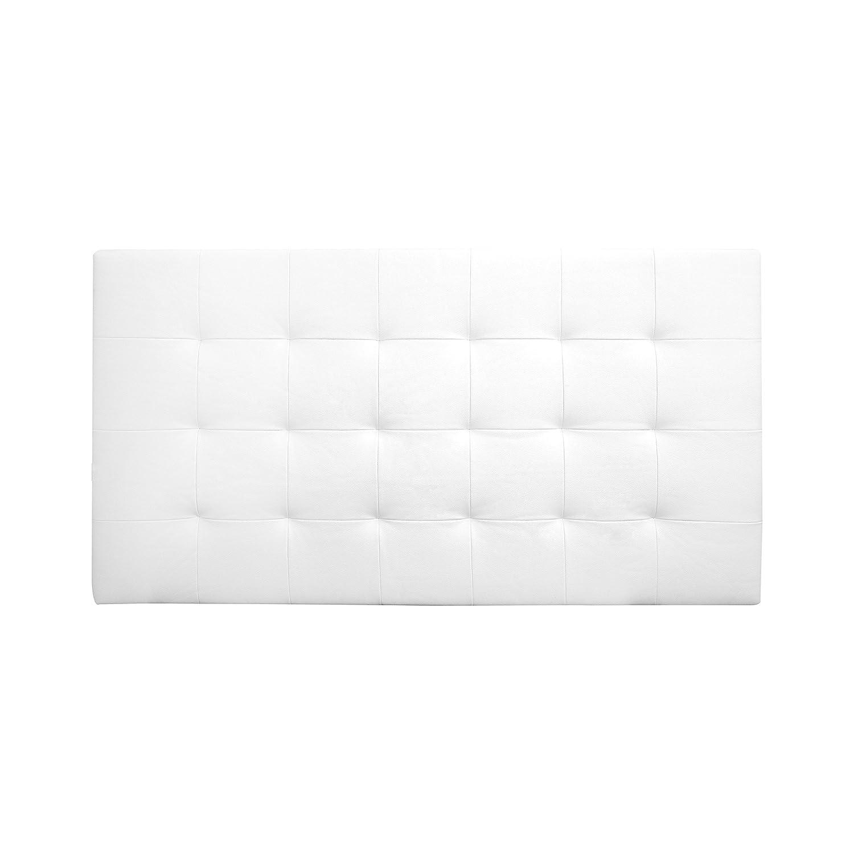 Decowood DCW05 Cabecero Pliegues, Cuero de imitació n, Blanco, 90 x 80 x 3 cm Cuero de imitación 053903-P03