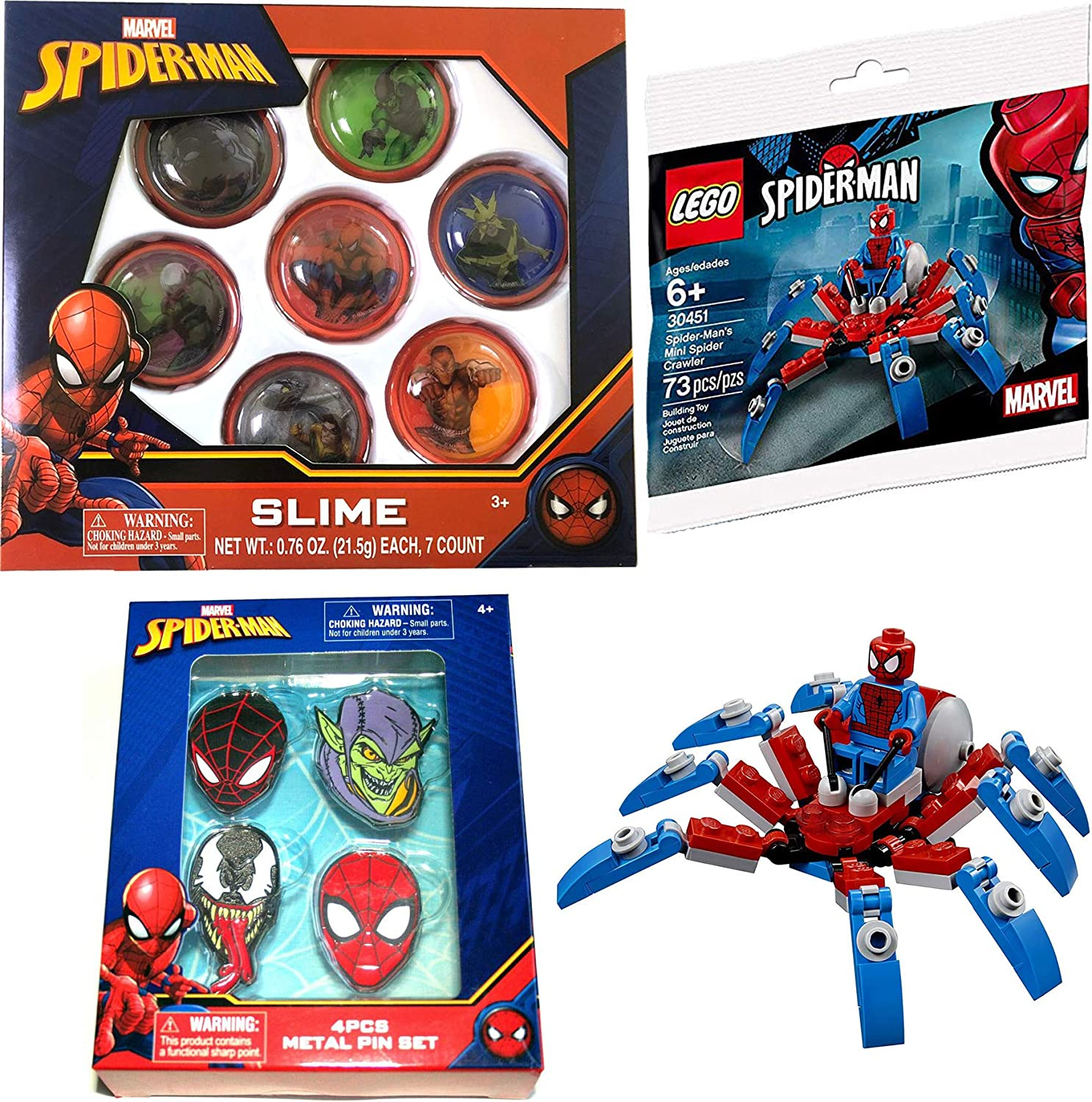 LEGO Web Wonder Spider-Man Mini Spider Crawler 30451 Mini Figure Bundled Pins / Green Goblin & Venom + 7 Toy Character Pack Spider-Man 3 Items