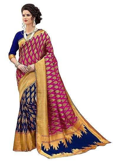 b8aac51219 Amazon.com: Rajnandini Pink And Blue Banarasi Silk Weaving Work Traditional  Saree: Clothing