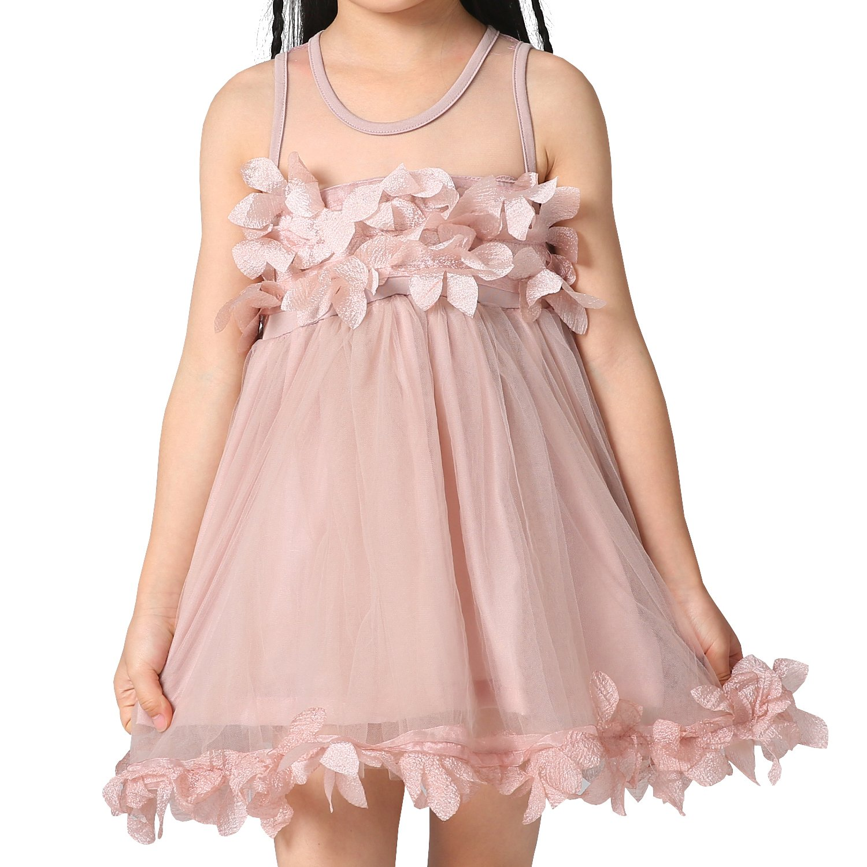 Budermmy Girls Sleeveless Casual Flower Tutu Dresses(pink,size 3)