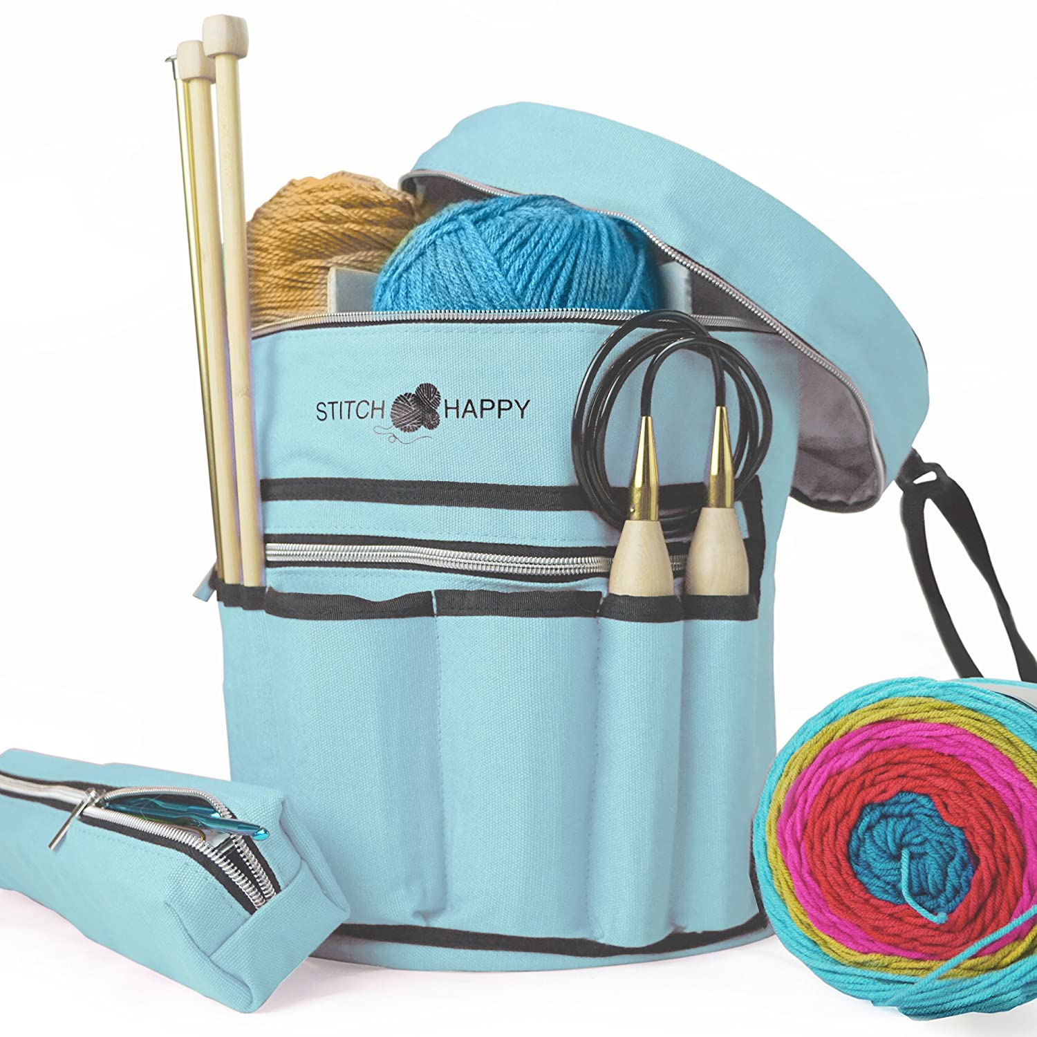 Stitch Happy Knitting Bag - Yarn Tote Organizer w/Tool Case, 7 Pockets + Divider for Extra Storage of Projects, Supplies & Crochet (Gray)