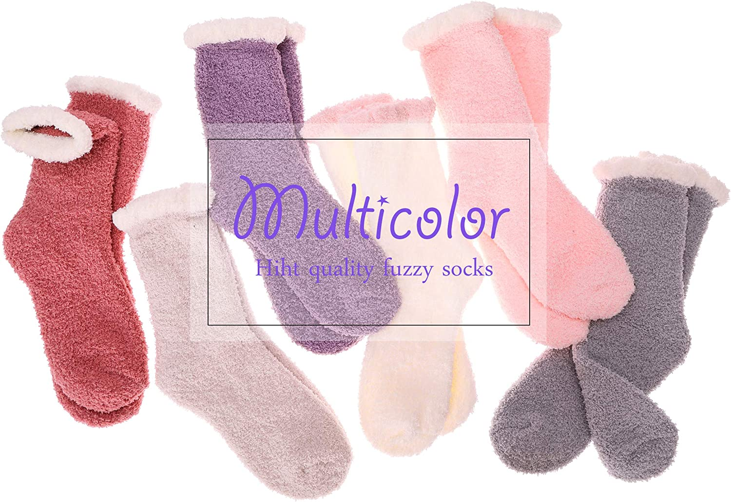 Womens Fuzzy Slipper Socks Soft Cabin Warm Cute Cozy Fluffy Winter Christmas Slipper Socks