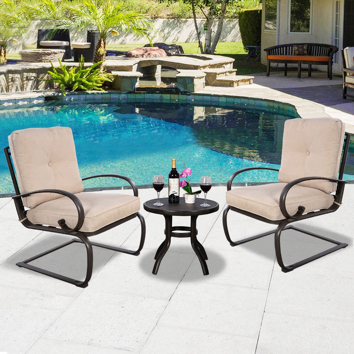 UBRTools 3 Pcs Outdoor Bistro Patio Dining Set Round Table 2 Seats With Cushion Furniture