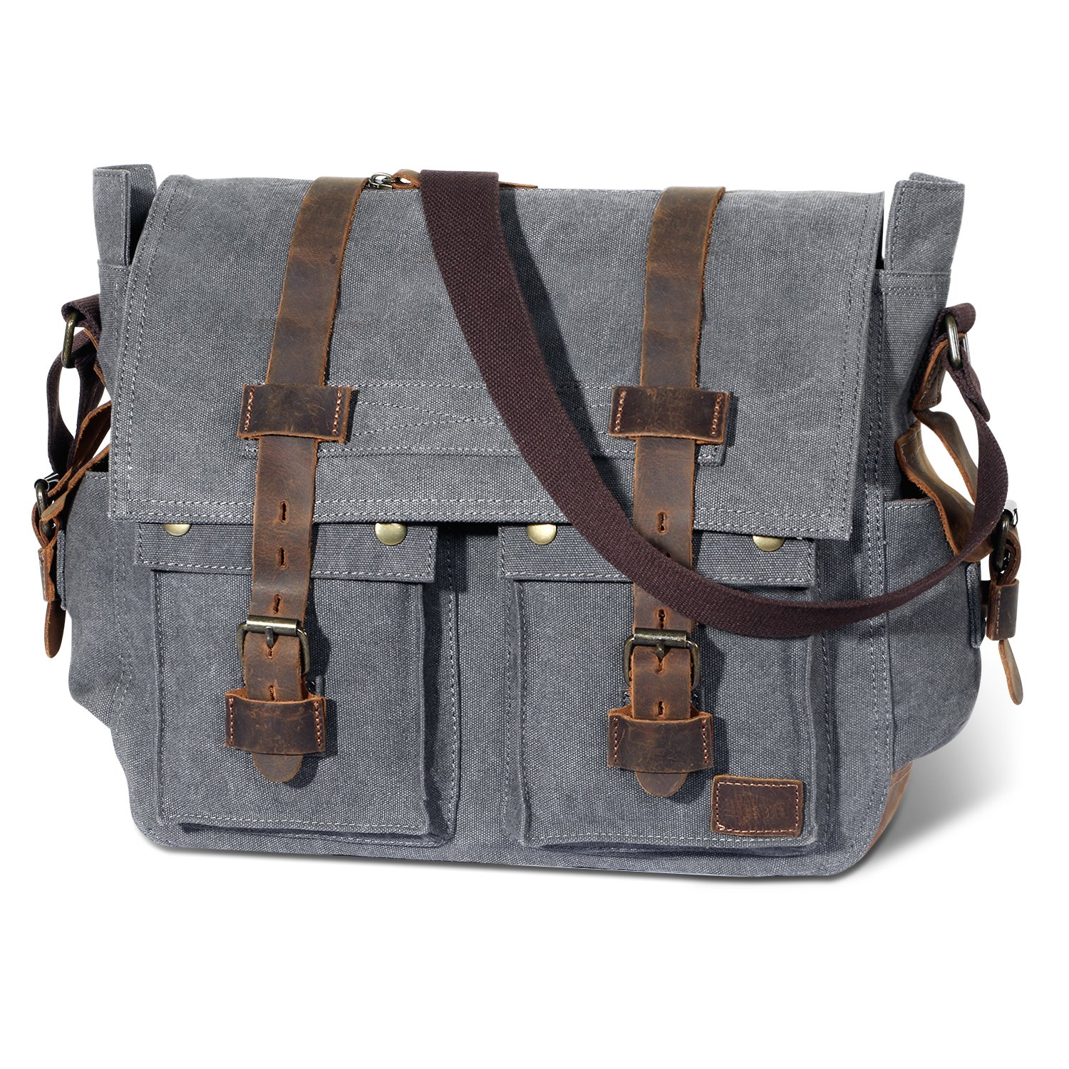 Lifewit 15.6-17.3 Men's Messenger Bag Vintage Canvas Leather Military Shoulder Laptop Bags LF210809GY