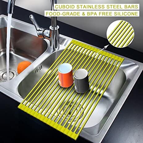 AphroD Roll Up Dish Drying Rack,Over The Sink Dish Drainer Rack, Stainless