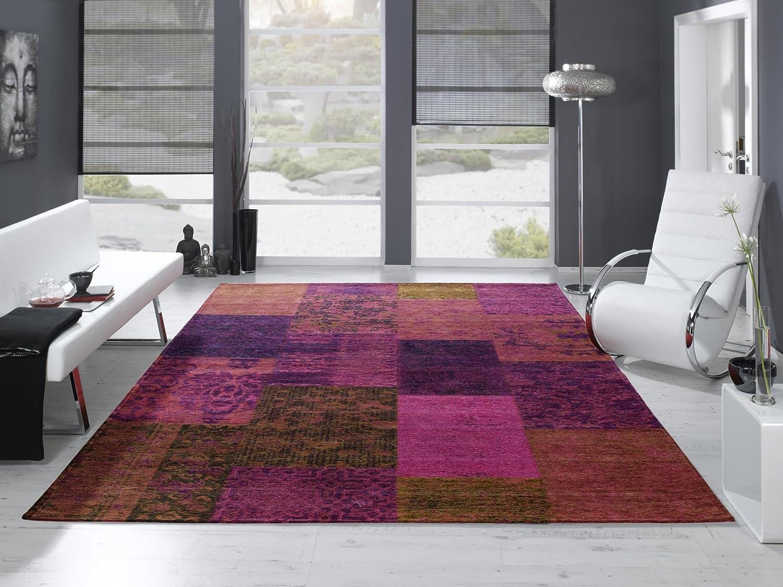 DALLIANCE ALLOVER Vintage Patchwork Velour Teppich in lila, Größe  250x300 cm