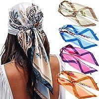 "35"" Satin Large Square Head Scarves - 4PCS Silk Like Neck Scarf Hair Sleeping Wraps Lightweight Satin Silk Scarfs for…"