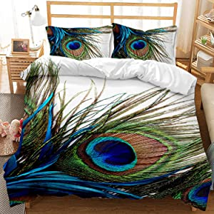 Blue Peacock Feather Bedding Set Queen Size Animal Theme Decor Duvet Cover for Boys Girls Kids 1 Duvet Cover + 2 Pillow Shams