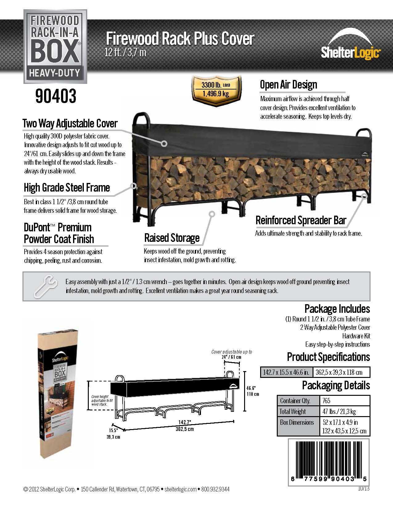 ShelterLogic Heavy Duty Firewood Rack with Cover, 12 ft.