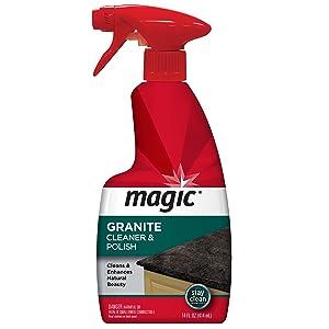 Magic Granite Cleaner & Polish - Enhances Natural Color in Granite, Quartz, Marble, Soap Stone and More - 14 Fl. Oz.