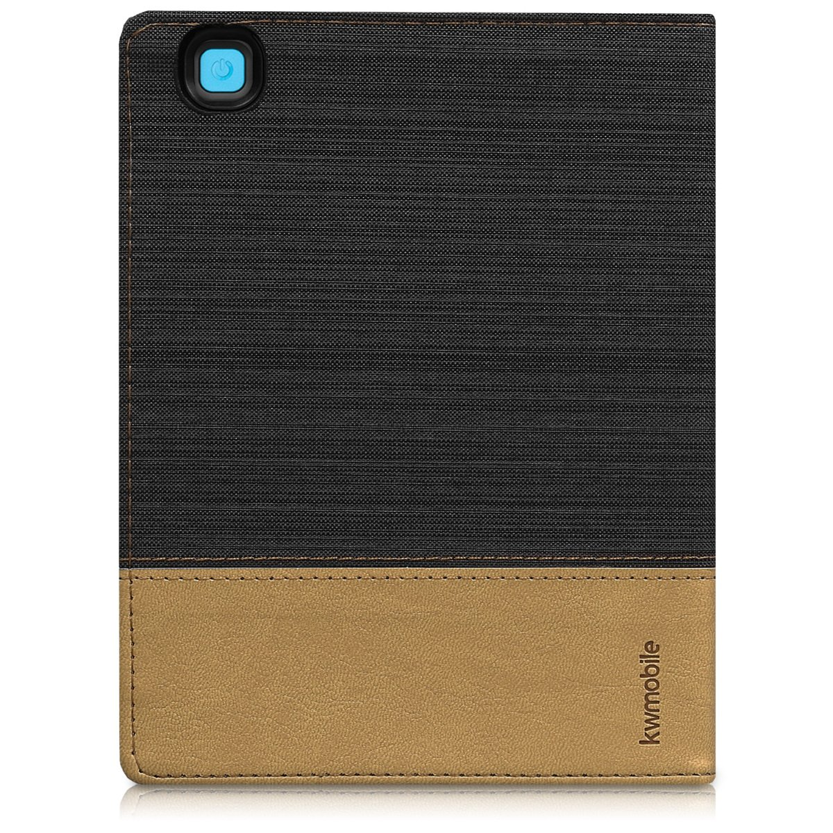 Dark Grey//Black PU Leather and Canvas Protective e-Reader Cover Folio Case kwmobile Case for Kobo Aura H2O Edition 2
