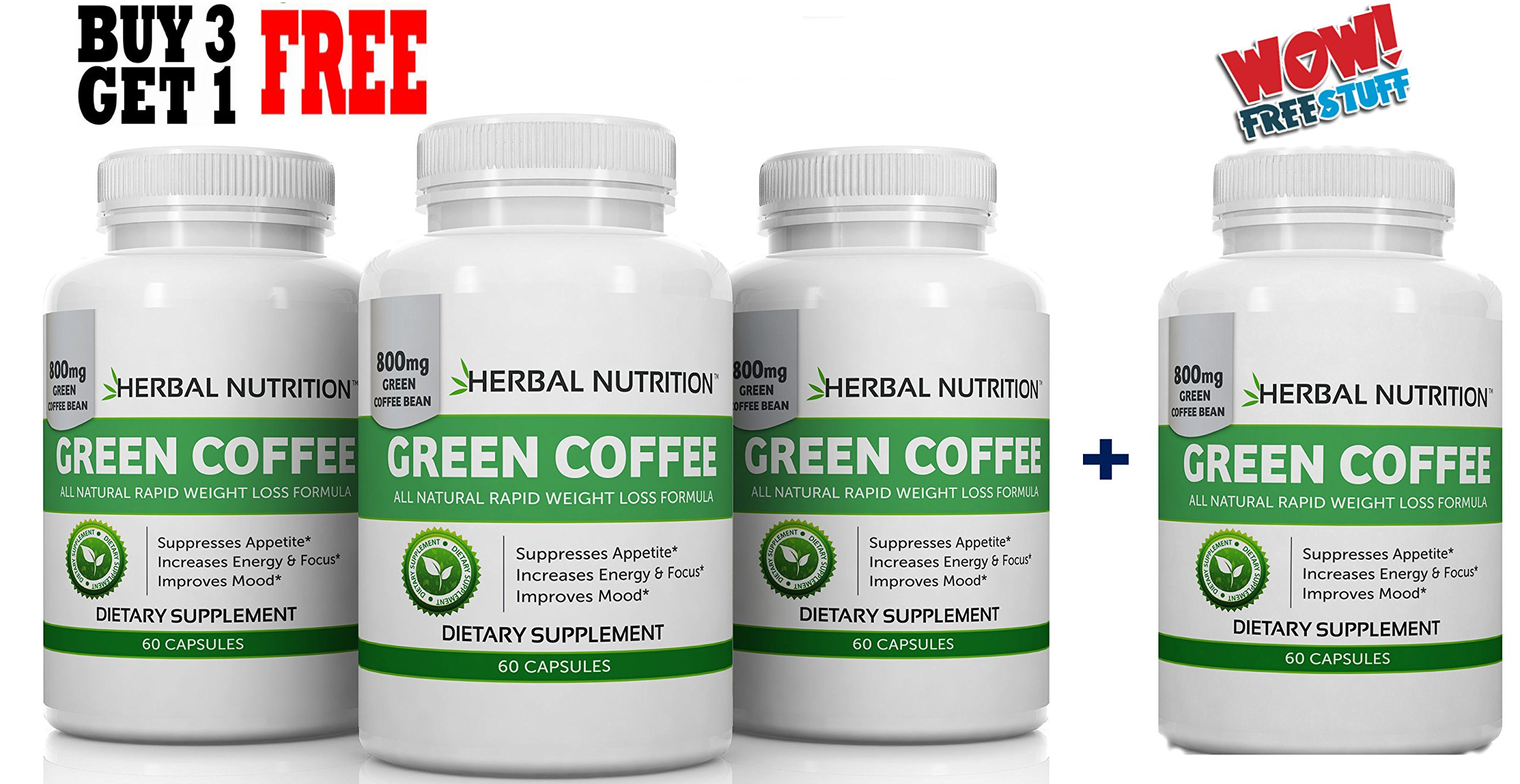 Green Coffee Extract for Weight Loss 240 Capsules 4 Month Supply 800mg at 50% Chlorogenic Acid Weight Loss Supplement Free Shipping by Herbal Nutrition