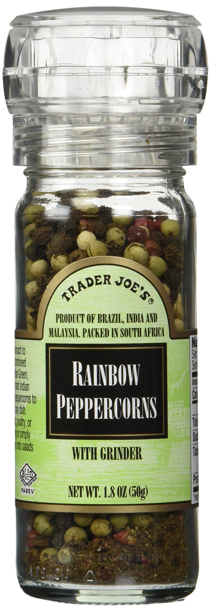 Trader Joe's Rainbow Peppercorns , a Mixture of Brazilian Pink,indian Green,malaysian White and Indian Black Tellicherry Peppercorns