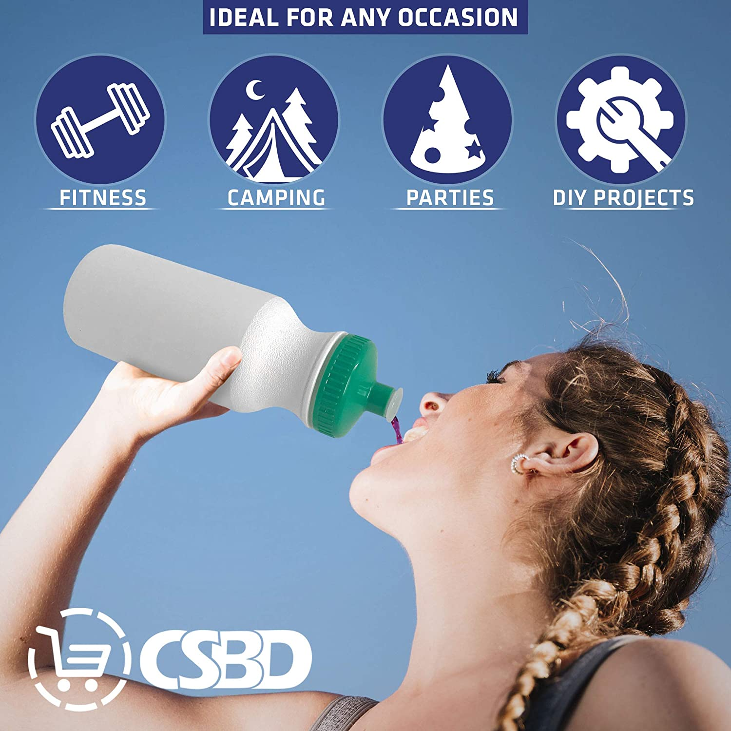 Bulk CSBD Blank 20 oz Sports and Fitness Squeeze Water Bottles 10 Pack BPA Free HDPE Plastic Made in USA