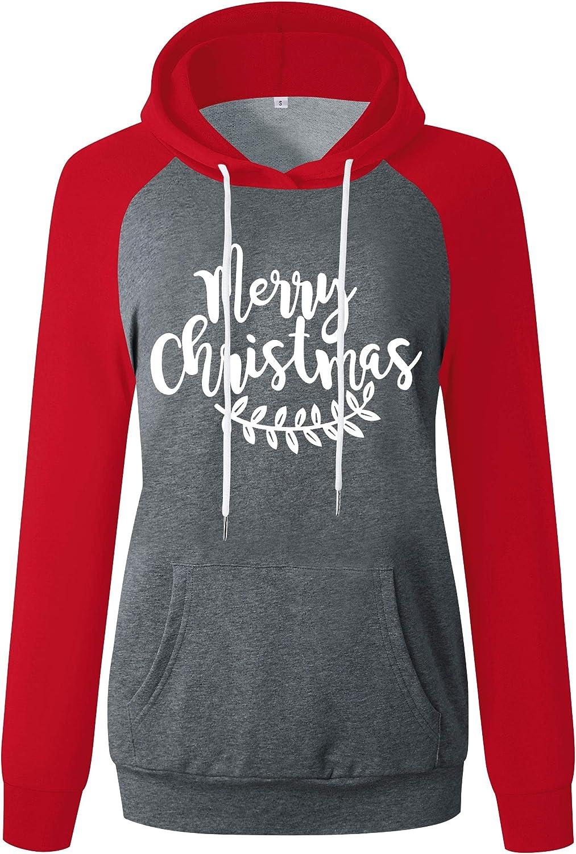 ANTSZONE Women's Christmas Holiday Raglan Hoodie Sweatshirts - Casual Long Sleeve Pullover Hooded Sweatshirt Tops with Pocket
