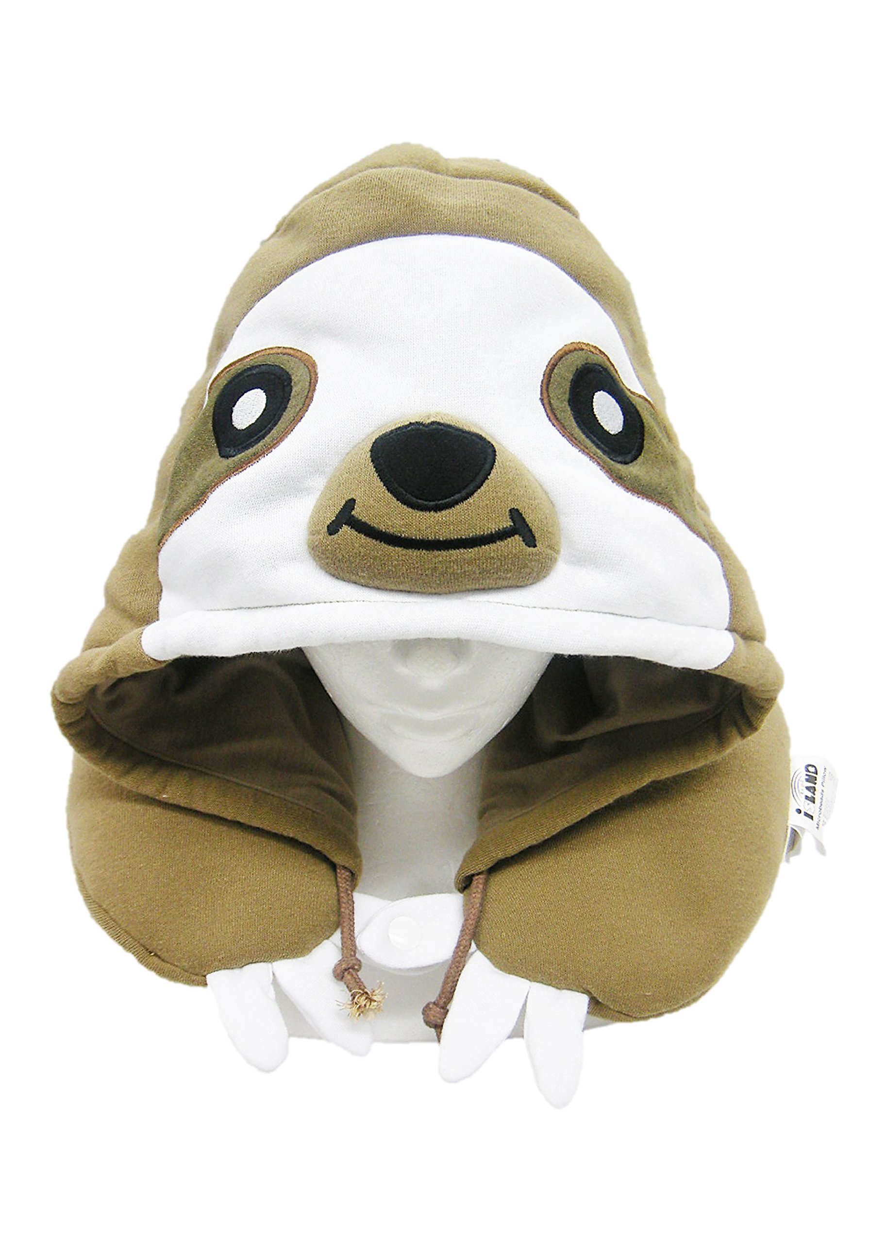 SAZAC Animal Neck Support Pillow - Soft, Cozy Travel Cushion with Adjustable Toggle - Attached Hood for Warmth and Privacy - Authentic Japanese Kawaii Design - Premium Quality (Sloth)