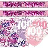 Unique BPWFA-4184 Glitz 100th Birthday Foil Banner Party Decoration Kit, Pink