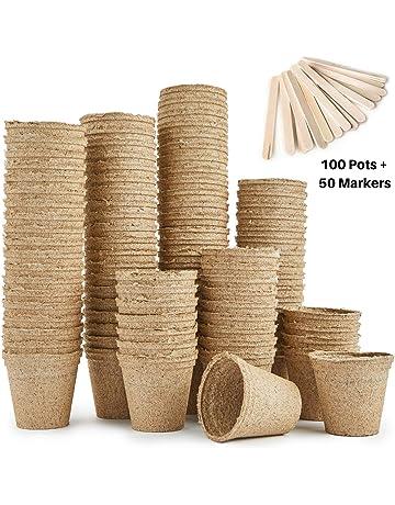 Urban Sprout - Macetas biodegradables, 100 macetas de fibra para plantar semillas, 6 cm