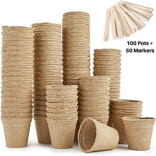 Urban Sprout - Macetas biodegradables, 100 macetas de fibra para ...