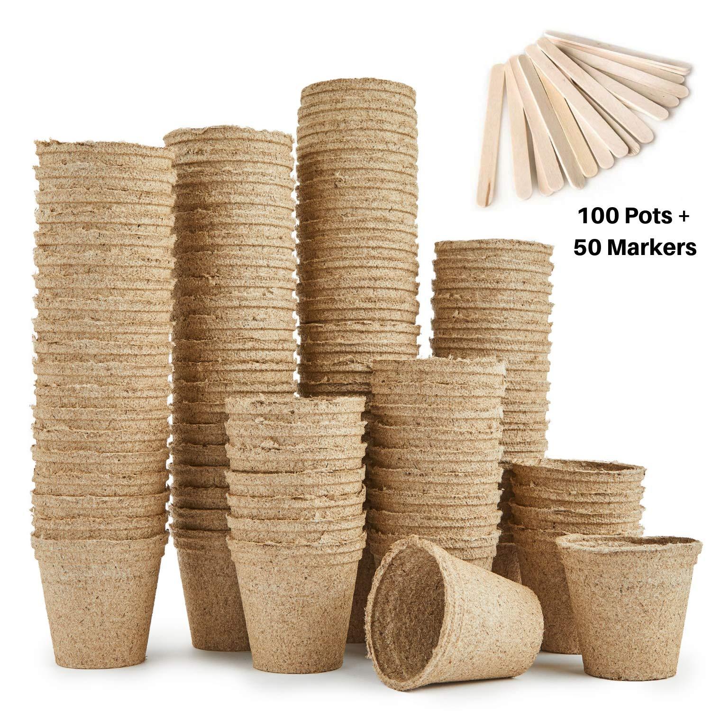 forma redonda Urban Sprout 6 cm Macetas biodegradables 100 macetas de fibra para plantar semillas