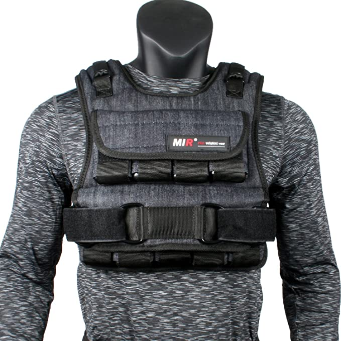 Amazon.com : miR Air Flow Weighted Vest with Zipper Option 20lbs - 60lbs : Clothing