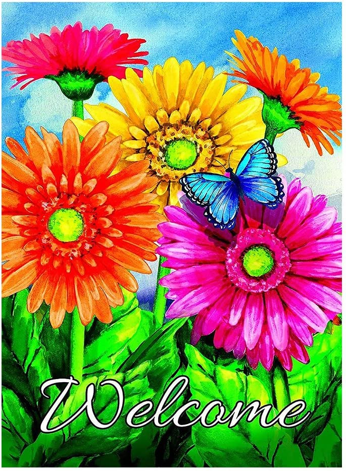 "ALAZA Welcome Butterfly Flowers Sunflower Daisy House Flag Garden Banner 28"" x 40"" Double Sided, Summer Flowers Spring Butterfly Garden Flags for Anniversary Yard Outdoor Decoration"