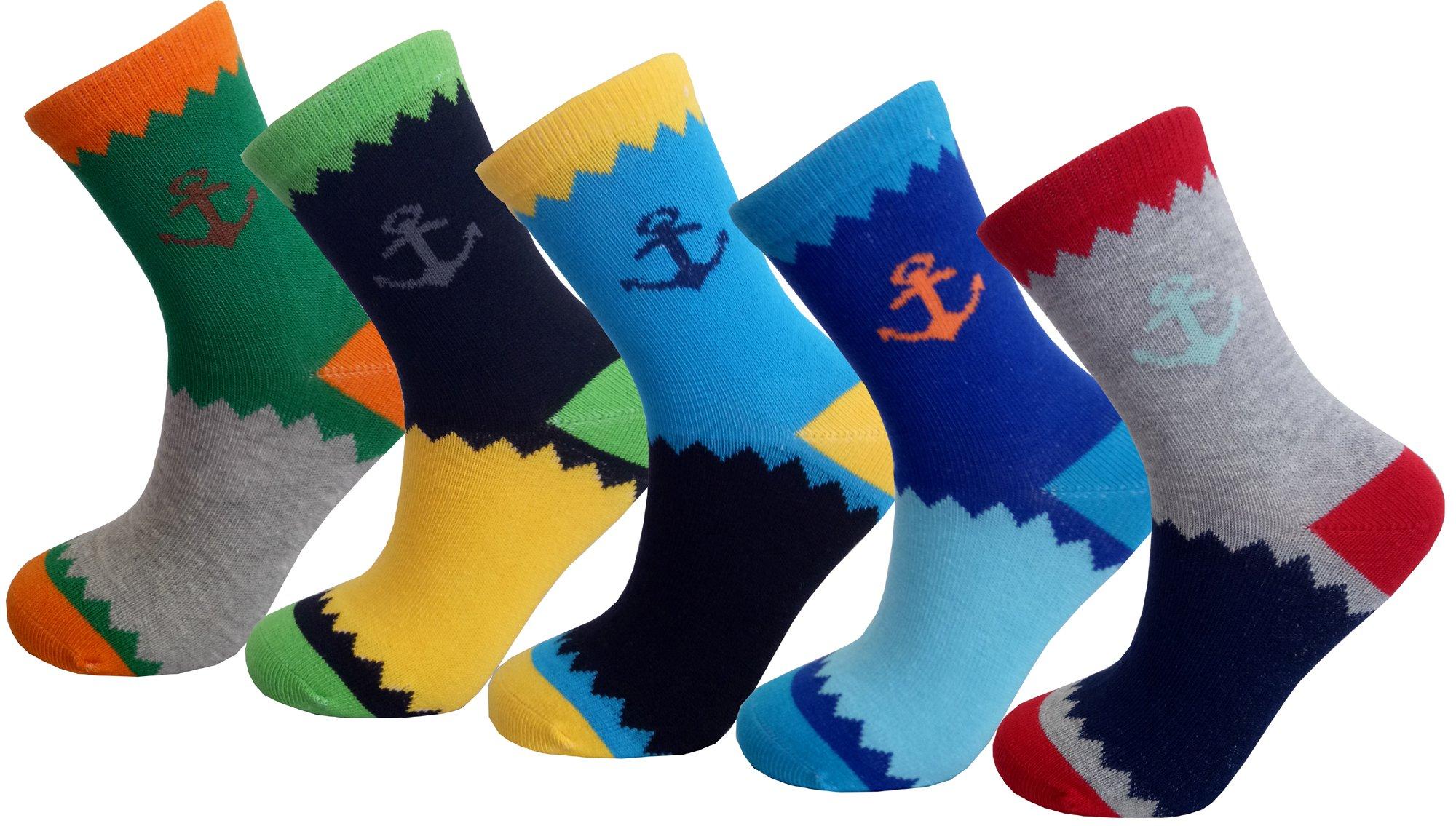 Searchself Boys Color Stripe Seamless Cotton Dress Socks (9-12 Years, Set 8)