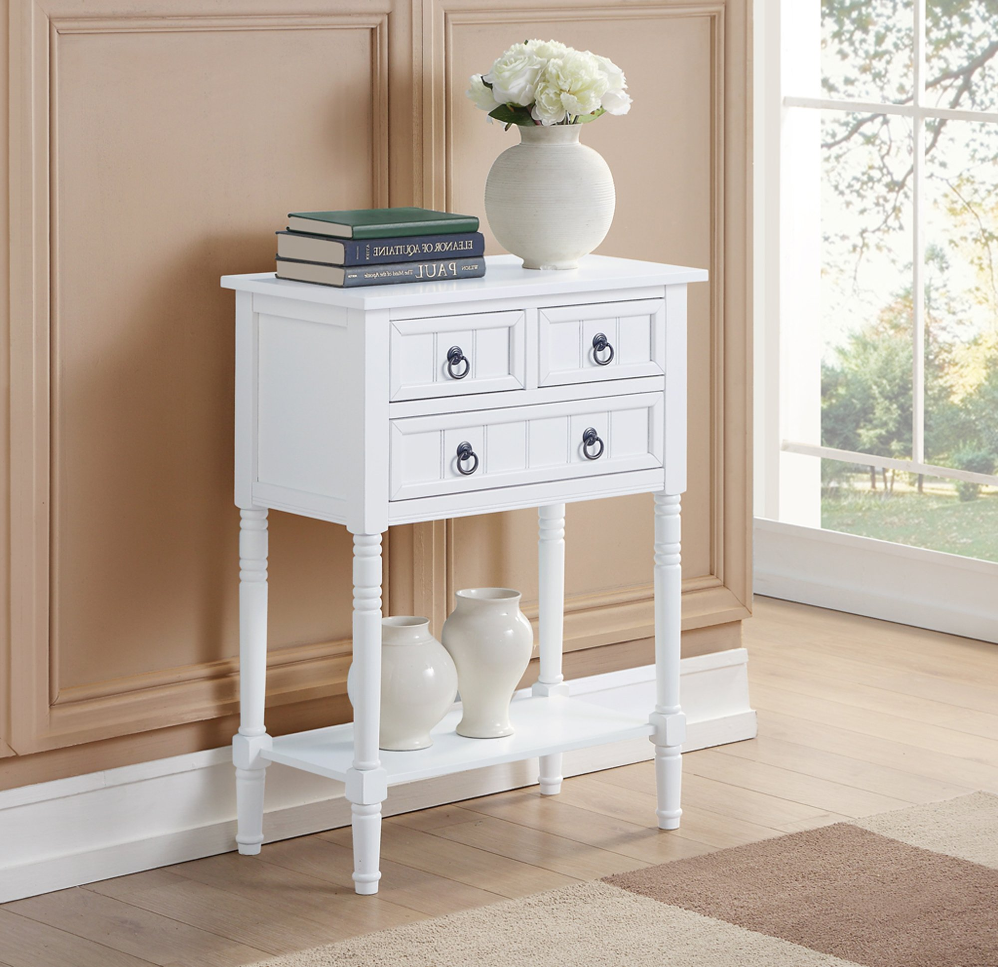 Convenience Concepts 501166W Hall Table, White by Convenience Concepts