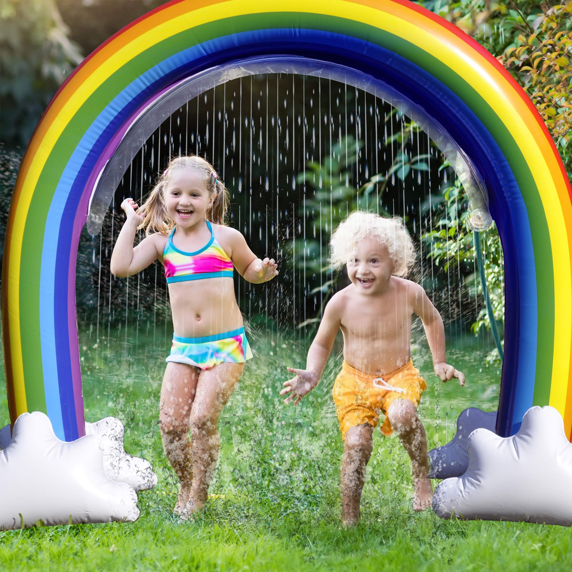 GoSlaz Inflatable Rainbow Sprinkler Toy - Kids Sprinklers for Outside - Fun Outdoor Water Play Sprinkler for Toddlers - Huge Colorful Back Yard Toddler Summer Toys - Easy to Set Up - Great Party Prop by GoSlaz