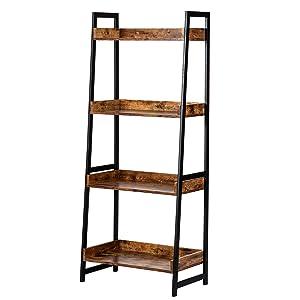 AMOAK Small Bookcase,4-Tier Bookshelf Storage Rack Shelf Unit for Living Room Bedroom Office Kitchen, Industrial Book Shelves Vintage Wood and Metal Bookshelves, Retro Brown