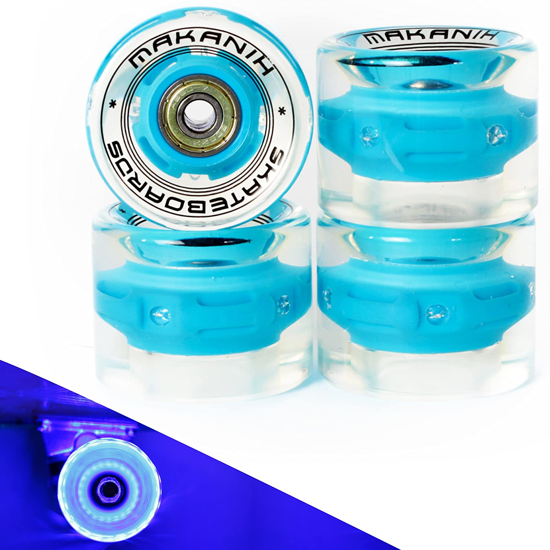4 makanih® LED Bombilla Tarjeta ruedas para Penny Skateboard Minicruiser City 60 * 45 MM - PU dureza 85 A - makanih Spin Fire - 1 año de garantía, ...