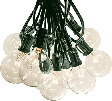 String Light Company Party Light 100-Ft Globe String Lights with 98 Sockets and 98 Clear G40 Bulbs 18 Gauge Green Cord