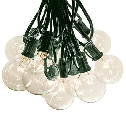 reputable site 4b7e4 dbc53 100 Foot G50 Patio Globe String Lights with 2 Inch Clear Bulbs for Outdoor  String Lighting (Green Wire)