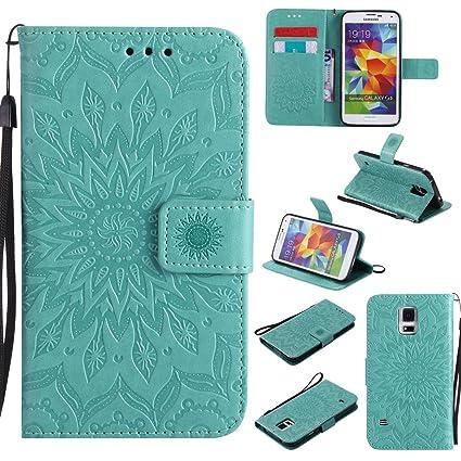 Amazon.com: Galaxy S5 caso, funda de piel sintética función ...