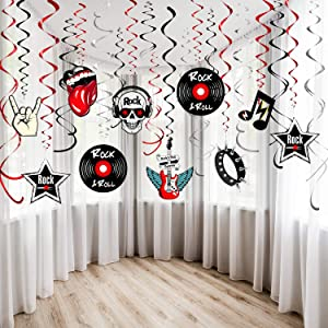 30Ct Rock and Roll Theme Party Foil Swirl Decorations Rock Star Music Party Hanging Swirls Party Ceiling Decorations for 50's 60's Theme Party Decorations Event Supplies