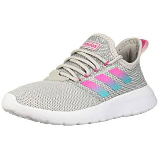 adidas Women's LITE Racer RBN Running Shoe, Grey/Shock Pink/Hi-Res Aqua, 8 Medium US