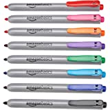 Amazon Basics Retractable Permanent Markers - Assorted Colors, 8 Count