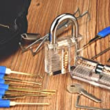 INNOCHEER Lockpicking Set: 24 Teiliges Dietrich Set mit 2 Transparentem übungsschloss in einer Ledertasche, Das perfekte Lock Pick Set für Anfänger und Profis