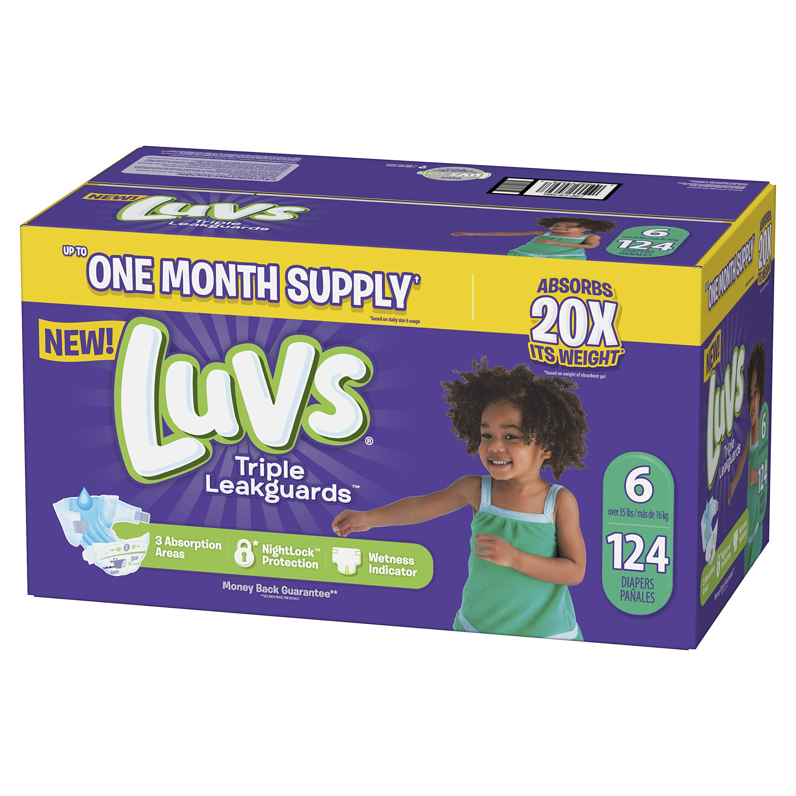 Diapers Size 6, 124 Count - Luvs Ultra Leakguards Disposable Baby Diapers, ONE MONTH SUPPLY (Packaging May Vary) by Luvs (LUVSD)