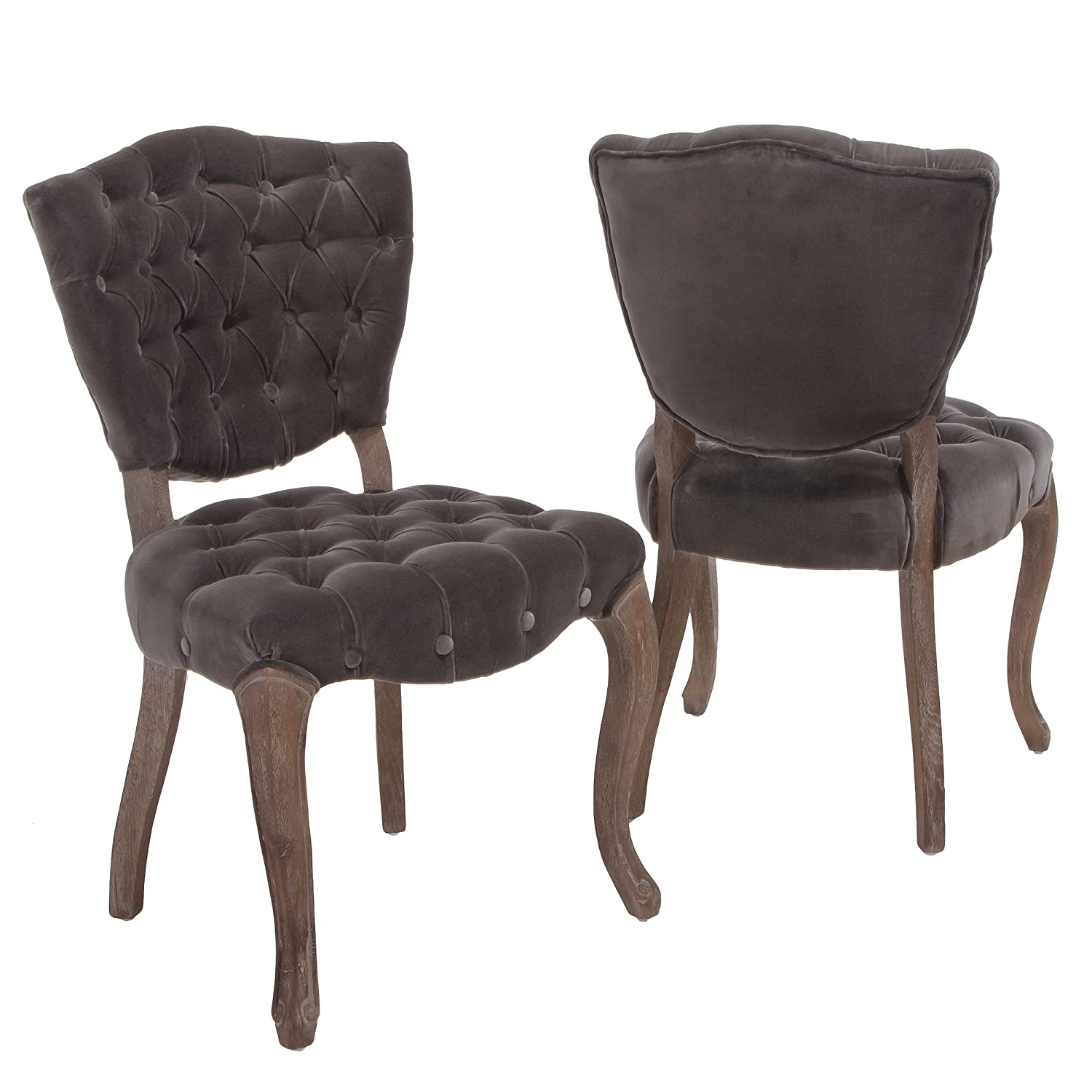 Amazon Violetta Tufted Charcoal Fabric Dining Chairs Set of