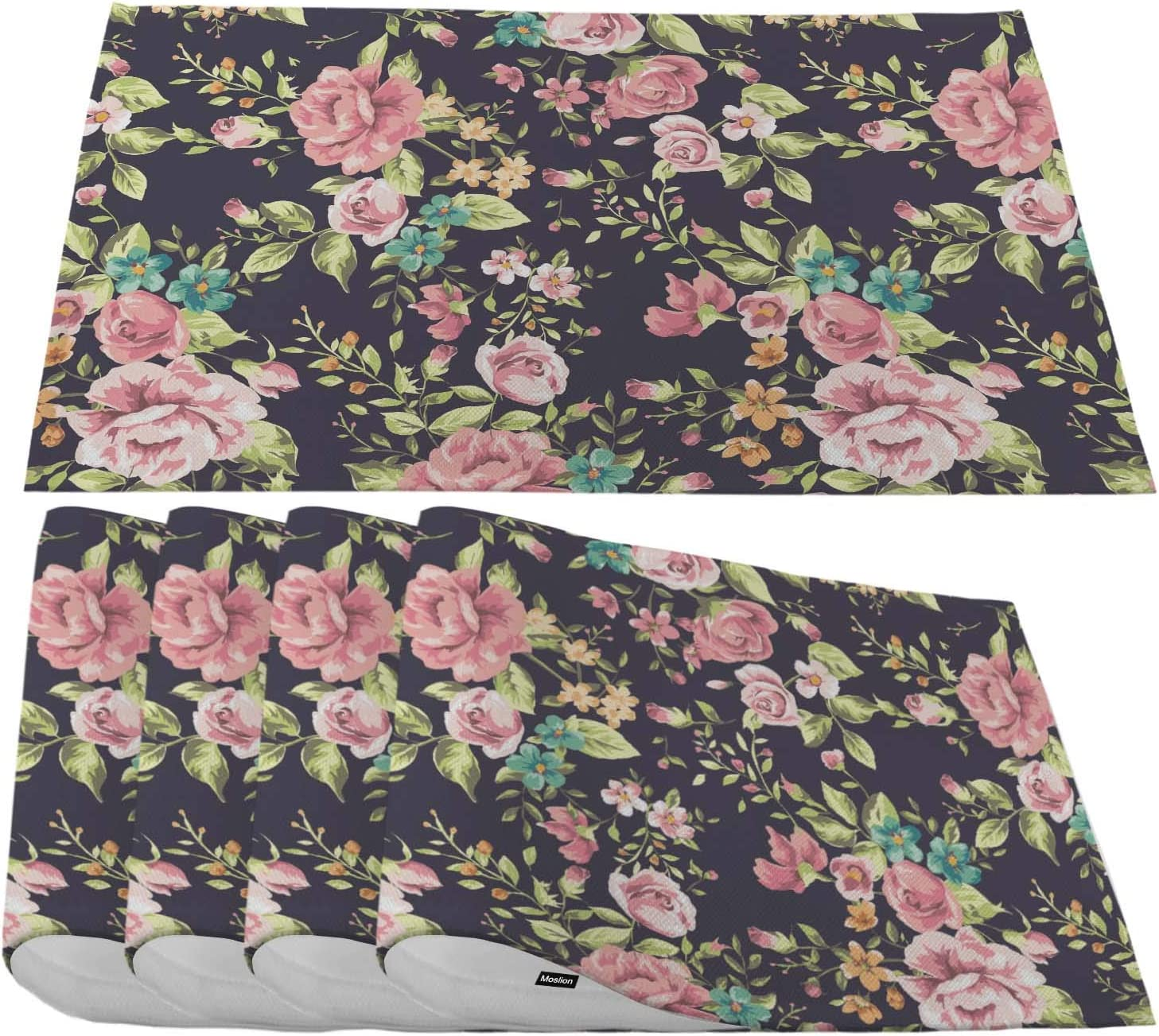 Moslion Pink Flower Placemats,Vintage Floral Flower and Leaf Pattern On Navy Background Place Mats for Dining Table/Kitchen Table,Waterproof Non-Slip Washable Outdoor Dinner Table Mats,Set of 4