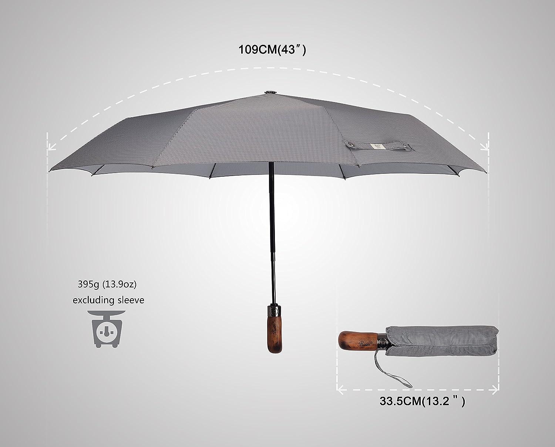 automatique fibre de verre solide coupe-vent plusieurs fils premium 300 pliables octogones concentriques gris minces en tissu quadrichromie Parapluie Balios fait main en bois v/éritable