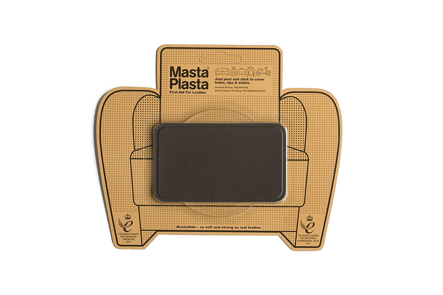 MastaPlasta Peel and Stick First-Aid Leather Repair Band-Aid for Furniture, Medium Plain, 4-Inch by 2.4-Inch, Dark Brown Mastaplasta Limited BROWNMED4X2.4STITCHUSA