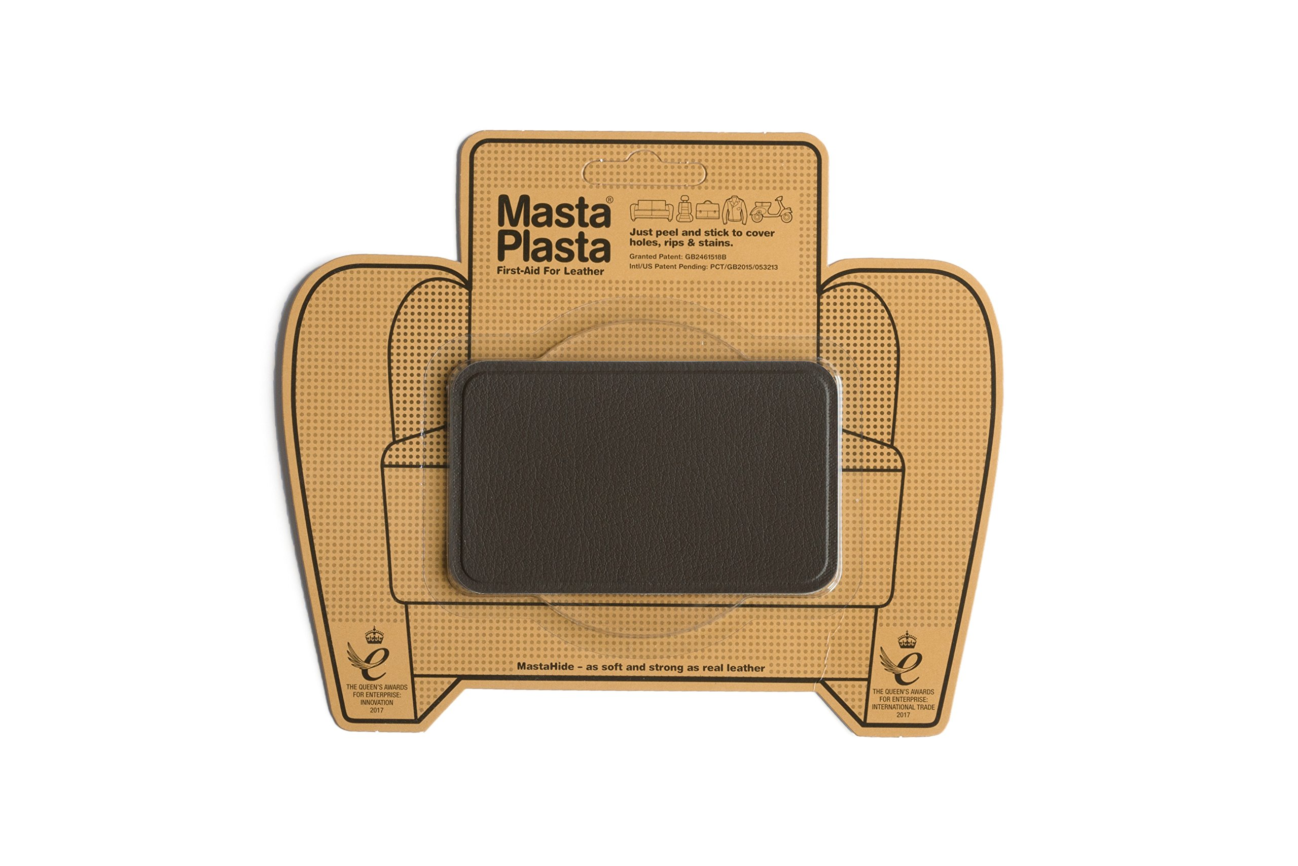 MASTAPLASTA, Leather Repair Patch, First-aid for Sofas, Car Seats, Handbags, Jackets, etc. Brown Color, Plain 4-inch by 2.4-inch, Designs Vary