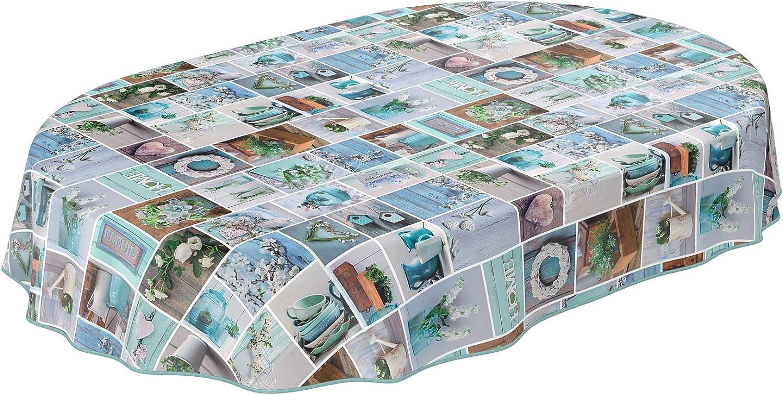 Anro - Mantel de hule lavable, 95% PVC, 5% poliéster., Diseño rústico, jardín, verde menta, Oval 140 x 220cm mit Saum: Amazon.es: Hogar