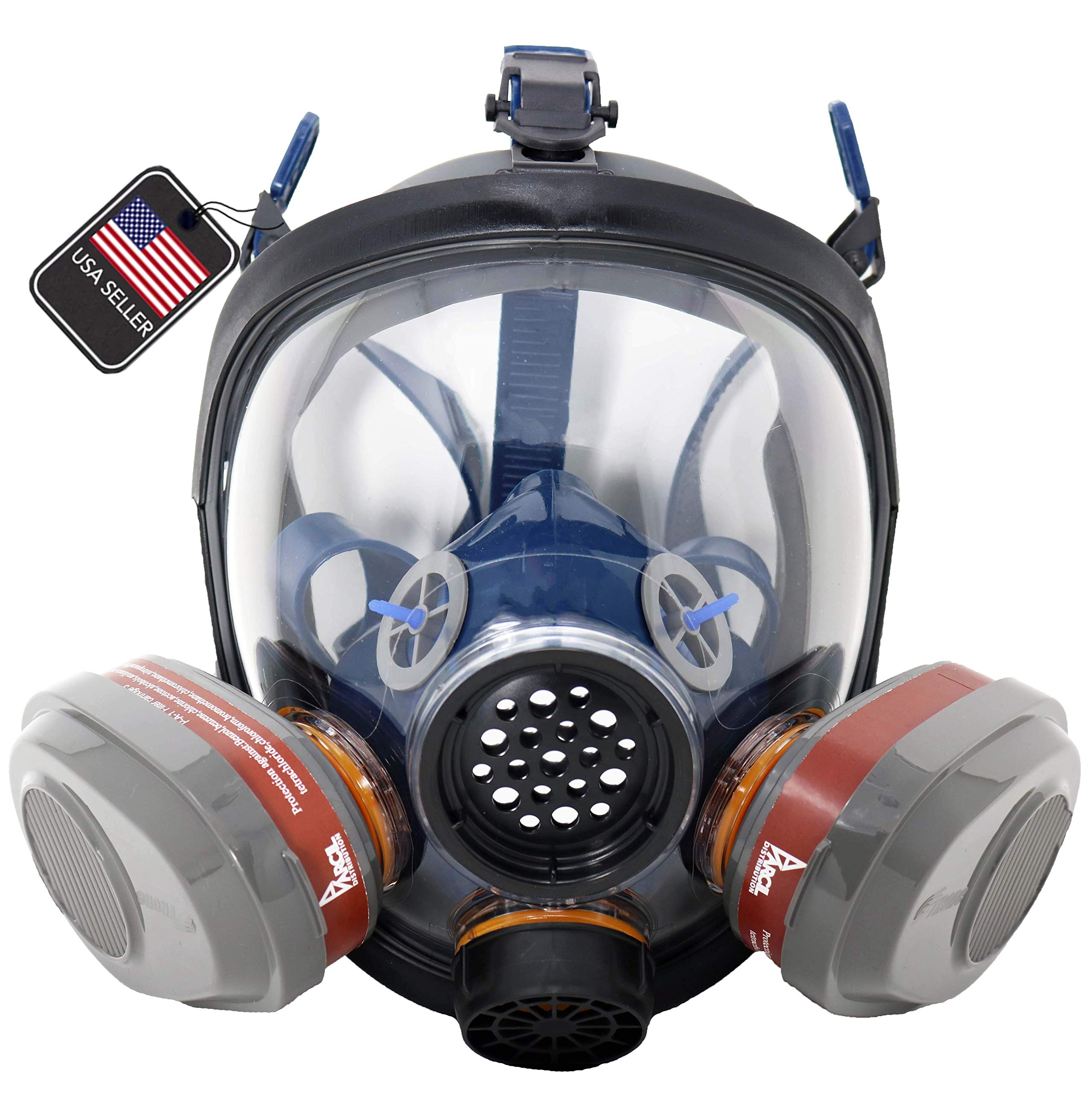 PD-101 Full Face N95 Respirator - ASTM Certified - Double N95 Activated Charcoal Air filter - Industrial Quality by Parcil Distribution